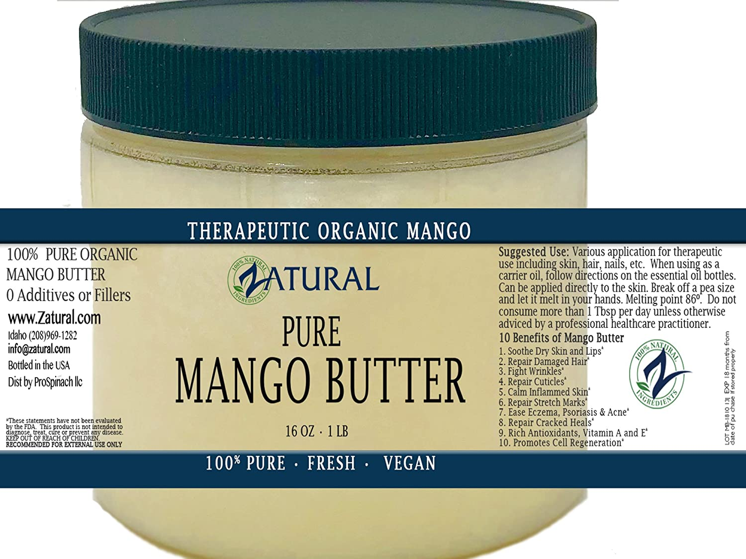 Organic Mango Butter 2 Available Food Cosmetic Image 1