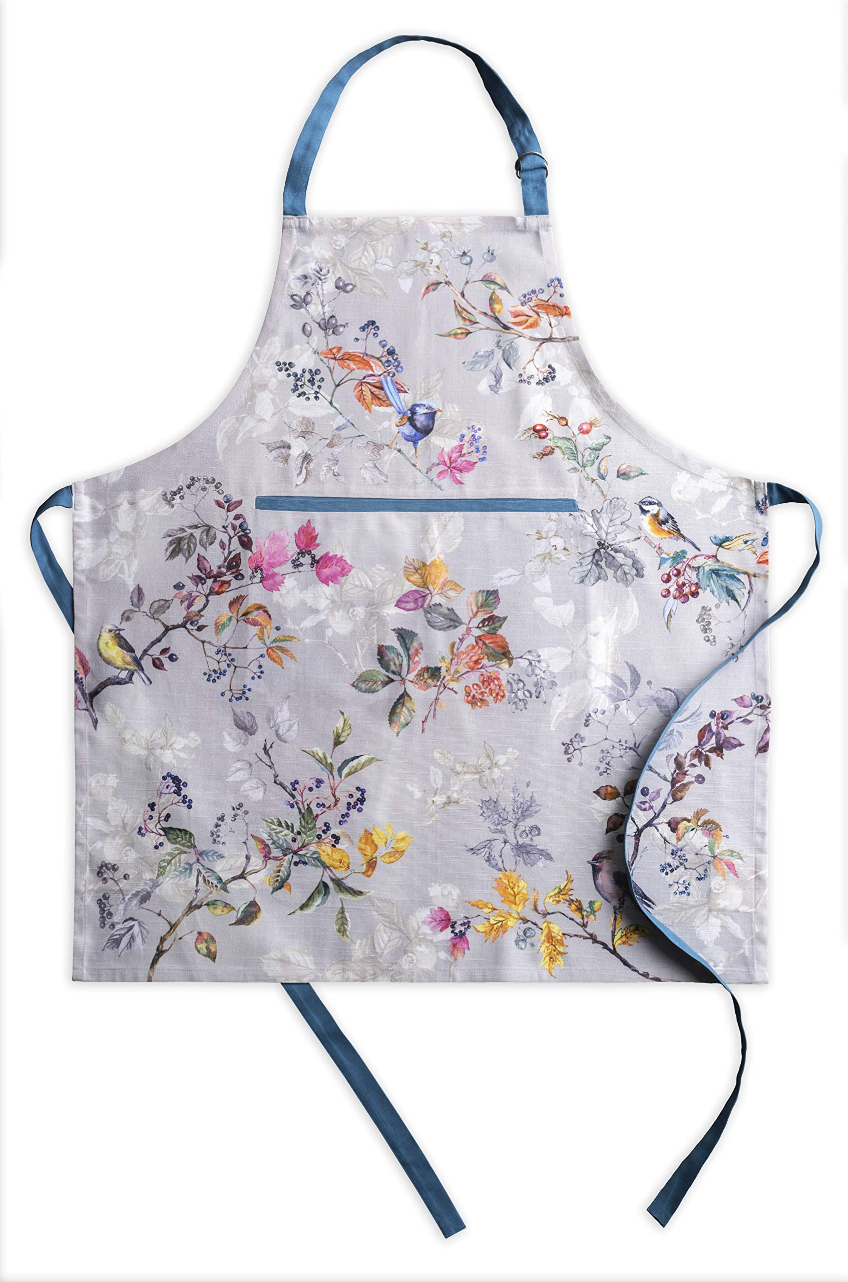 Maison d' Hermine Equinoxe 100% Cotton Grey Apron with an Adjustable Neck & Hidden Center Pocket 27.5 Inch by 31.5 Inch