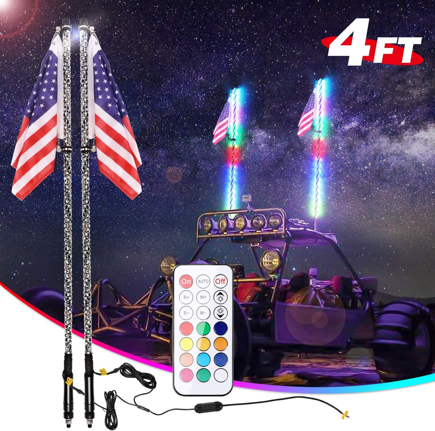 6/' TWISTED SILVER LED WHIP ANTENNA QUICK RELEASE ATV UTV RZR Buggy sand rail
