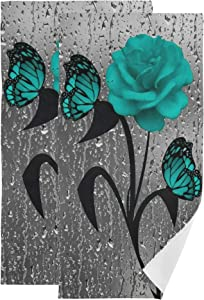 Teal Rose Butterfly Face Towel Set of 2, Raindrop Window Hand Towel Dish Towels Cotton Bath Decor Set for Kids 30x15 inch Gym Yoga Beach Towels for White Elephant Gift