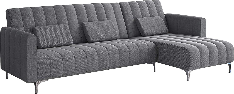 Comfort Products SelectionHome - Sofa Chaise Longue, Convertible en Cama, Reversible, Modelo Milano, Acabado en Gris Claro a Rayas, Medidas: 267 cm (Largo) x 137 cm (Fondo) x 88 cm (Alto)