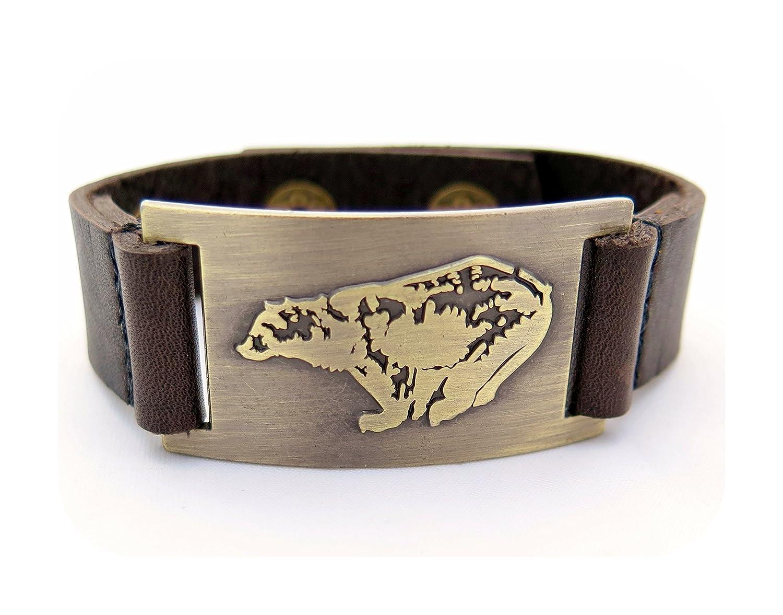 Bear Leather Bracelet, Adjustable