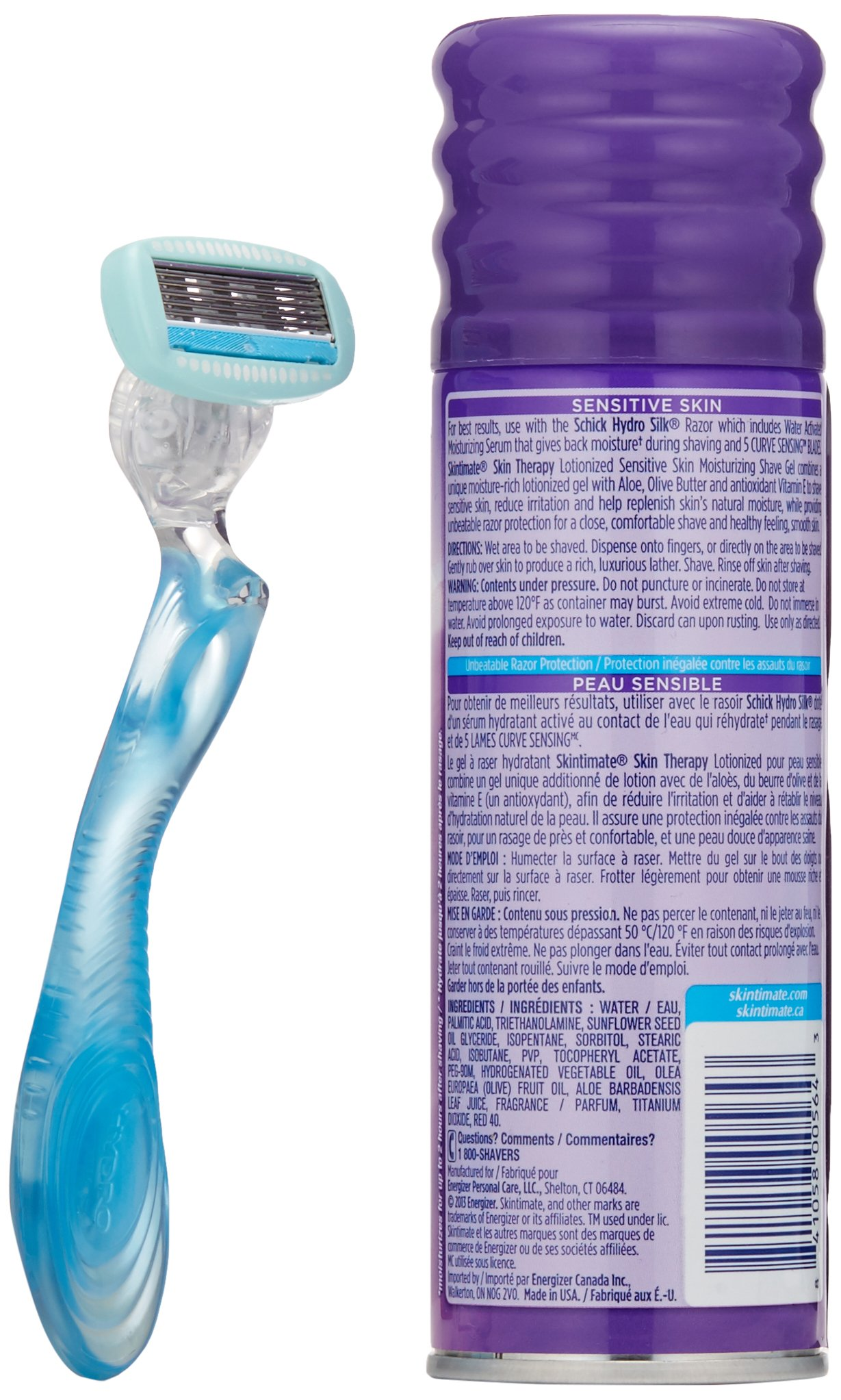 Schick Hydro Silk Shaving Starter Gift Set for Women with Shower Ready Razor Refill Blades and Skintimate Skin Therapy Shave Gel for Sensitive Skin by Schick (Image #3)