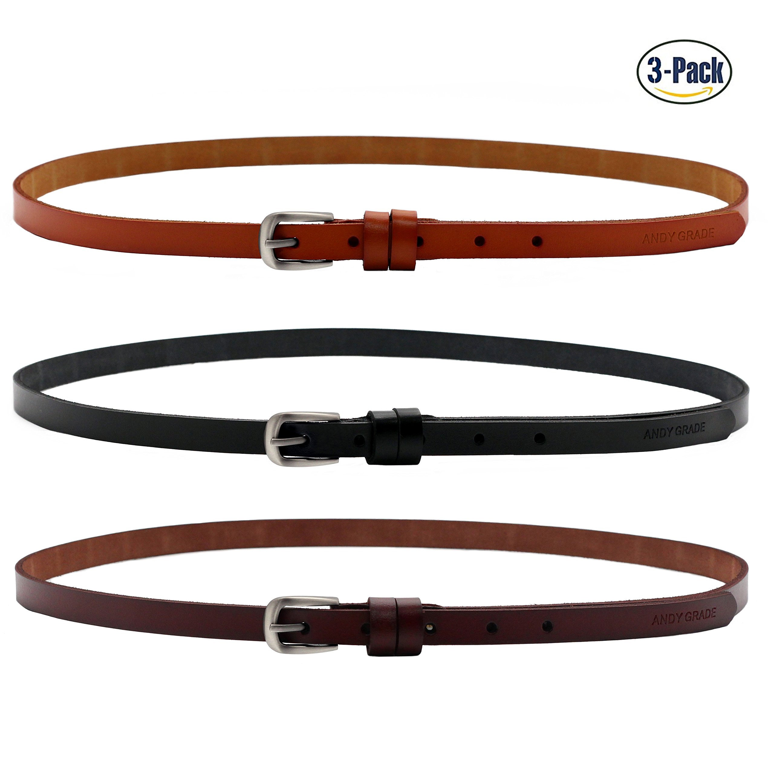 Set of 3 Women's Genuine Cowhide Leather Stylish Thin Dress Belt Fashion Vintage Casual Skinny Belts for Jeans Shorts Pants Summer for Women With Alloy Pin Buckle By ANDY GRADE (Style A)