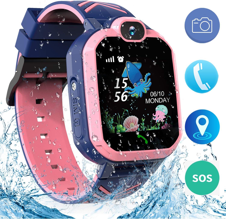 Jaybest Niños SmartWatch Phone -Niños Impermeable Smartwatch con rastreador de LBS con de Llamada SOS cámara Pantalla táctil Juego Smartwatch Childrens Gift(Rosa)