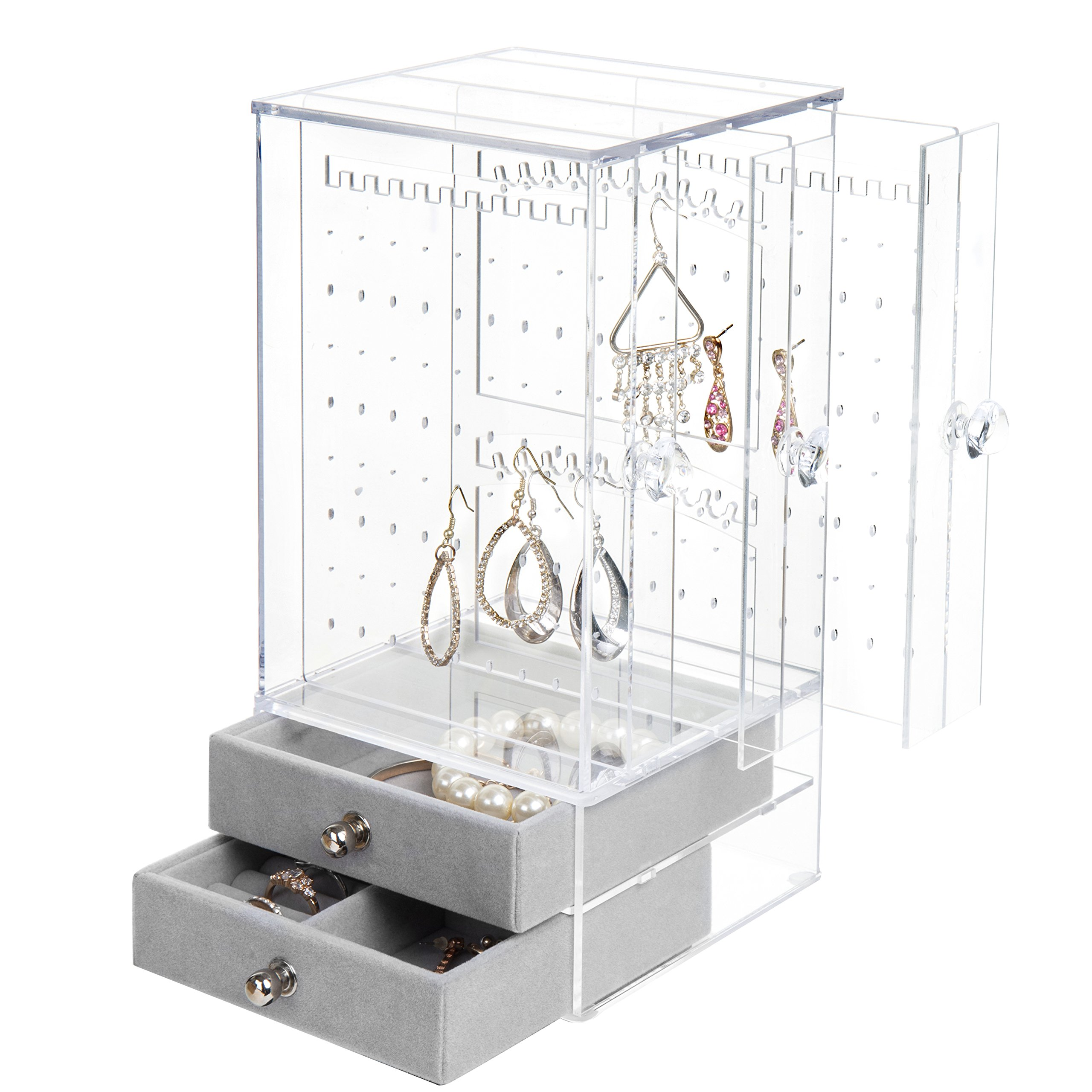 MyGift Clear Acrylic Earring Display Jewelry Case Necklace and Bracelet Organizer with 2 Plush-Lined Drawers.