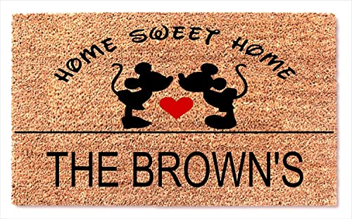 Personalized Mickey and Minnie Mouse Kissing Heart Funny Doormat – Decor Home Sweet Home Best Door Welcome Custom Mat New House Presents – Wedding Valentine Birthday Gift