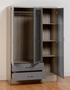 Nevada 3 Door 2 Drawer Wardrobe in Grey Gloss/Light Oak Effect