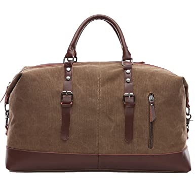 Travel Duffel Bags Weekend Bag Men Canvas PU Leather Travel Bag Unisex  Carry On Bag Overnight BagsCoffe e24eb95e9d21a