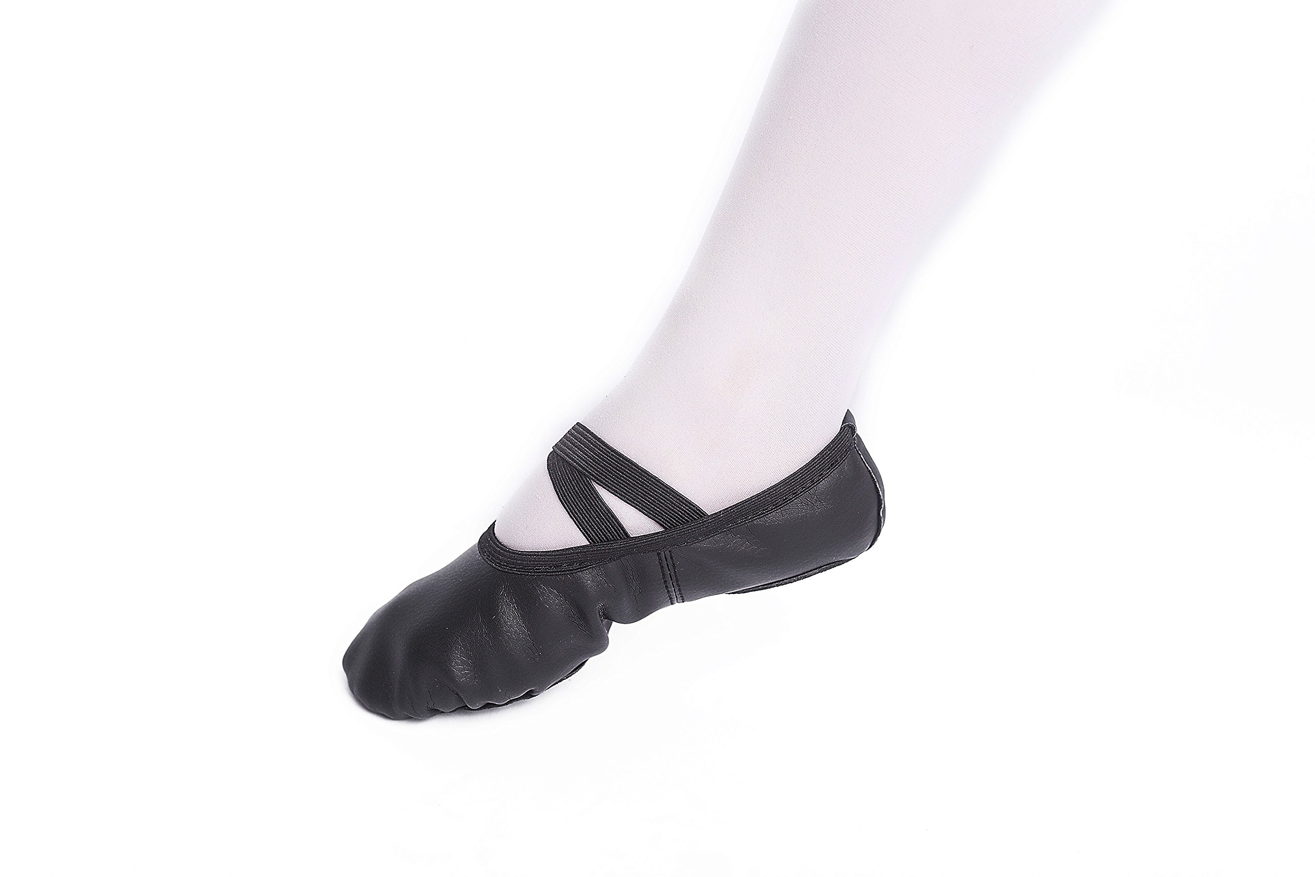 FERMAID Leather Ballet Dance Shoes Girls Pointe Shoes Slippers Flats Yoga Shoe(Toddler/Little Kid/Big Kid/Women) (215, Black)