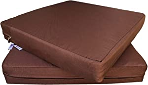 """QQbed 2 Pack Outdoor Patio Deep Seat Memory Foam (Seat and Back) Cushion Set with Waterproof Internal Cover - Size 20""""X18""""X4"""" ,Chocolate Brown"""