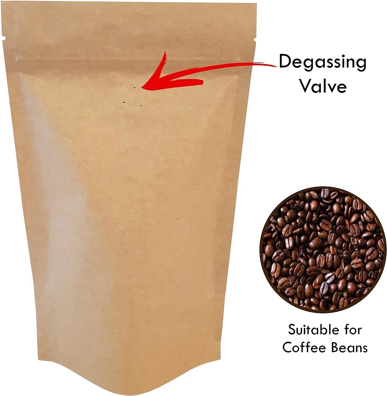 Rightpak papel kraft con v/álvula de desengrasante Stand Up bolsas con cierre resellable y muesca de desgarro para embalaje de alimentos