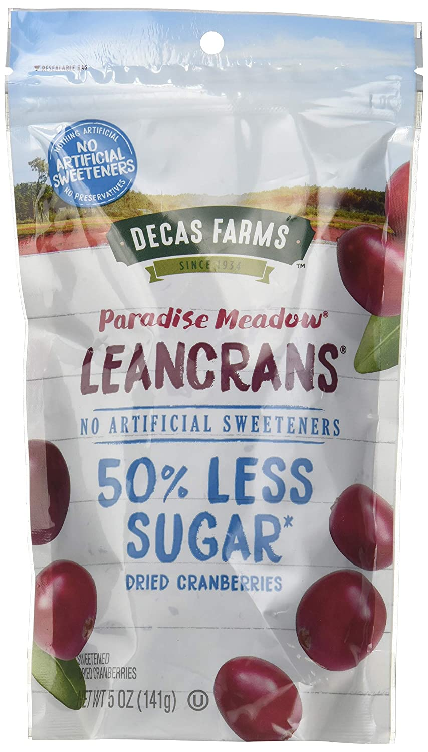Decas Farms LeanCrans Reduced Sugar Dried Cranberries, 5 Ounce