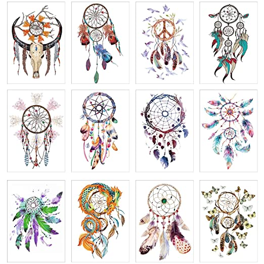 Cokohappy 12 Sheets Temporary Tattoos Dream Catcher Tattoos For Girls Women