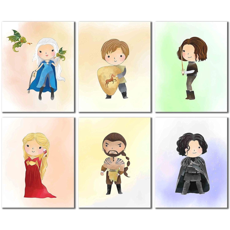 Game of Thrones Wall Art Decor Prints - Set of Six 8x10 Watercolor Photos - Daenerys Targaryen Tyrion Lannister Arya Stark Cersei Khal Drogo Jon Snow BigWig Prints