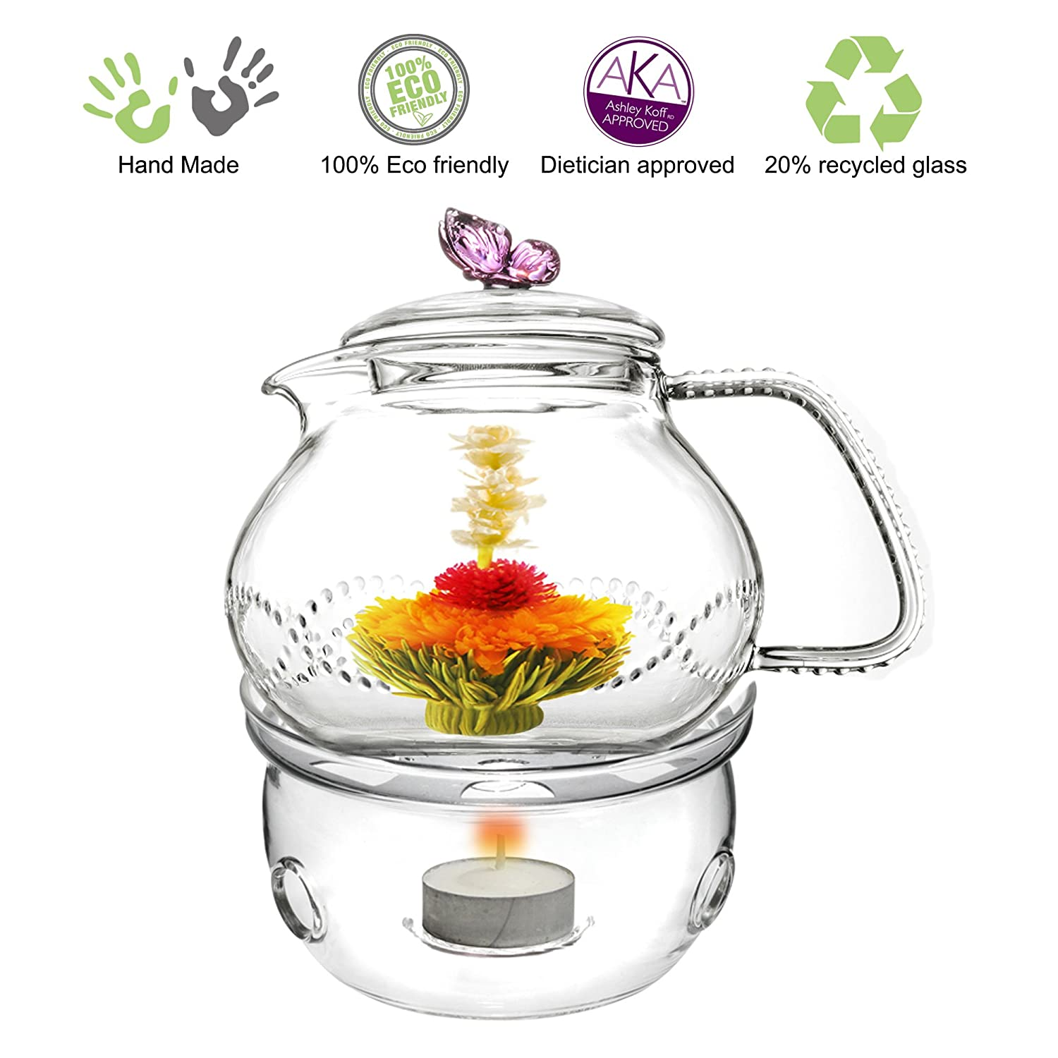 Glass Teapot with Tea Warmer Lead Free Special Glass No Drip by Tea Beyond (Glass, 24 oz Pink)