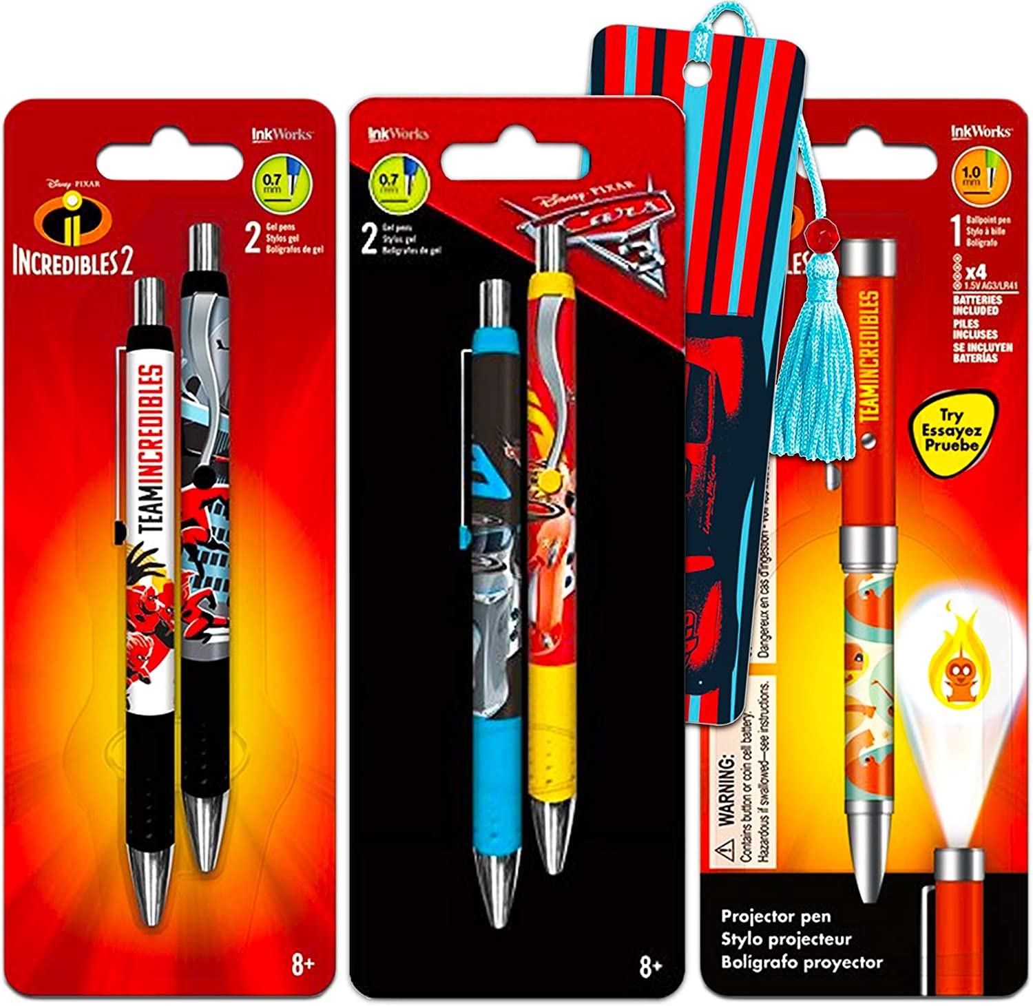 Disney Cars Incredibles Pens Pack - Bundle Includes 5 Pens and Bookmark (Disney Office and School Supplies)