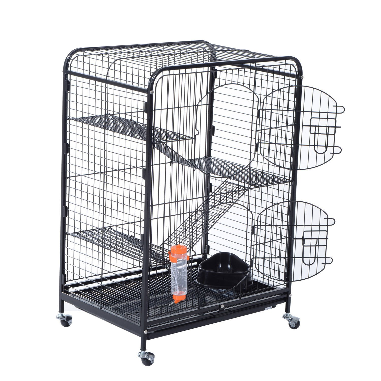 PawHut 37'' 4 Level Indoor Portable Pet Habitat Small Animal Cage Kit With Mesh Shelves And Ramps - Black by PawHut