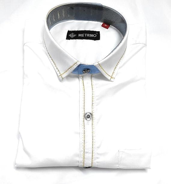 3b7066eee4fc Metrino Men's,100% Cotton, Designer White Shirt, Beautiful Embroideried,M  Size: Amazon.in: Clothing & Accessories