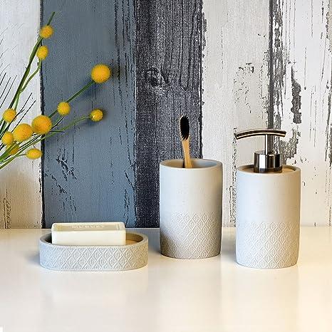 SATU BROWN - Juego de accesorios de baño (dispensador de jabón 32cc139191e3