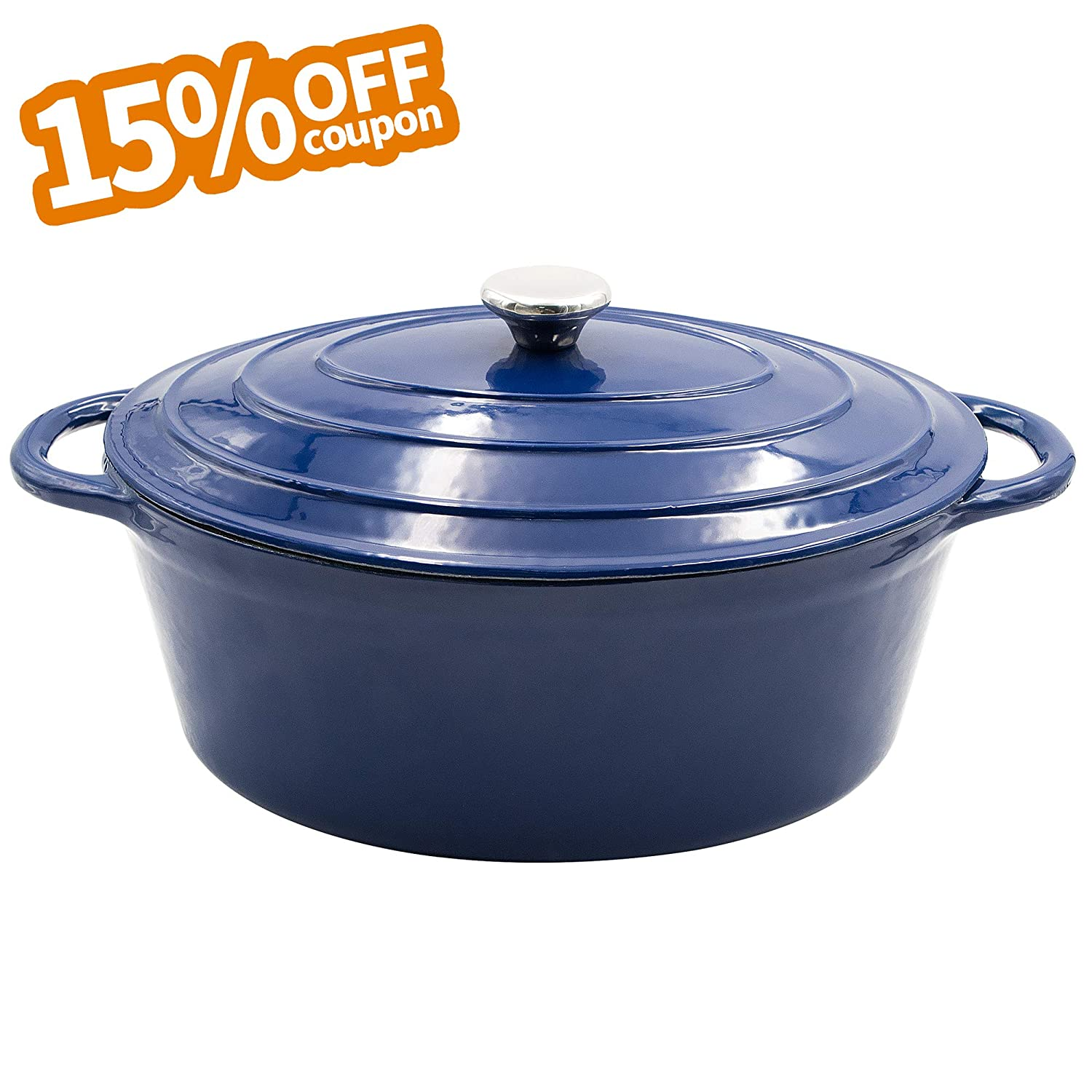 AIDEA Enameled Cast Iron Dutch Oven - 7-Quart Cobalt Blue Oval Ceramic Coated Cookware French Oven with Self Basting Lid