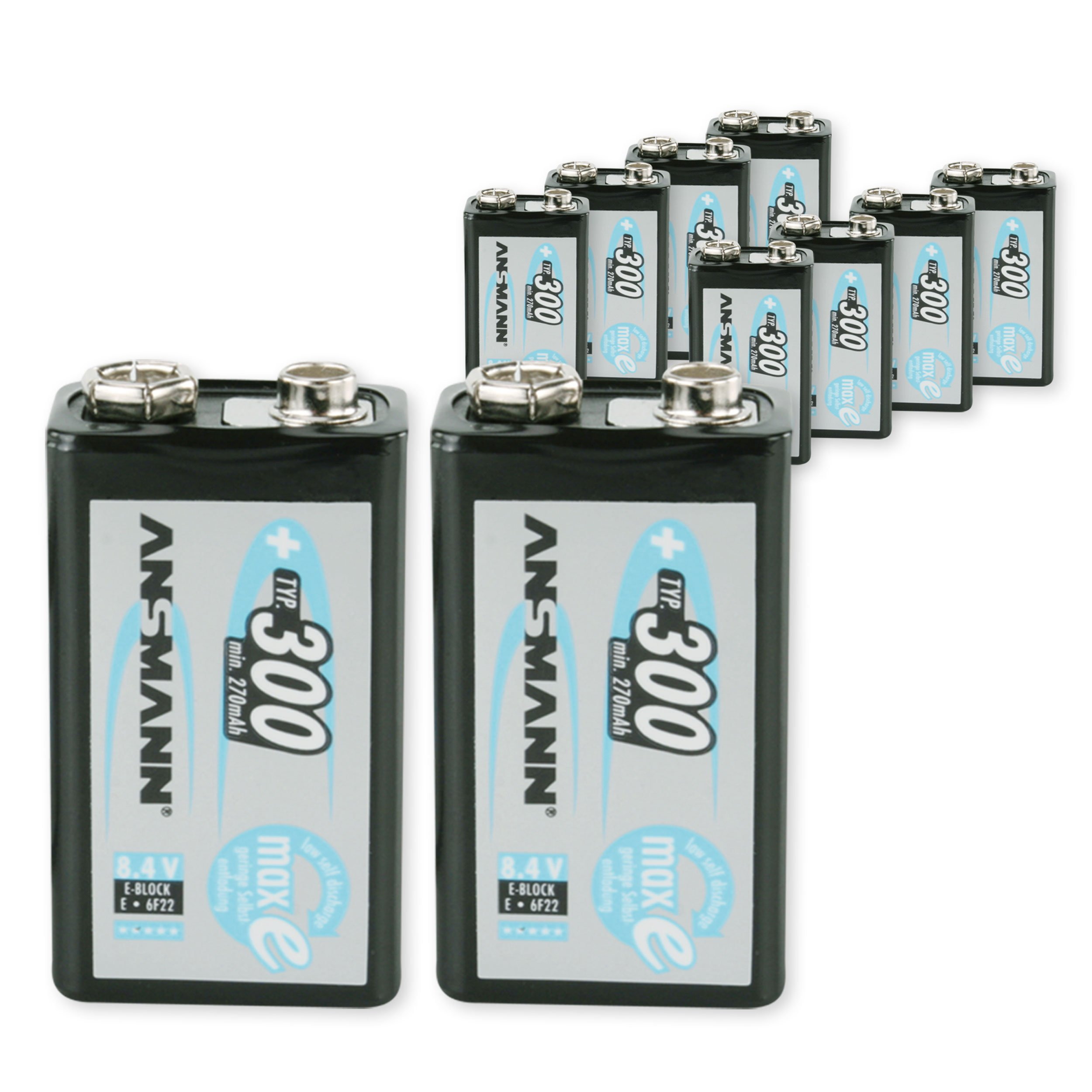 ANSMANN 9V Rechargeable Batteries 300mAh pre-Charged Low Self-Discharge (LSD) NiMH 9 Volt Battery 9V Battery (10-Pack) by Ansmann