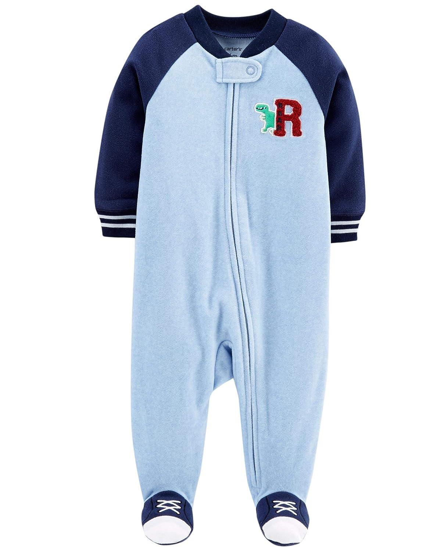 Carters Little Boys Football Micro-Fleece Sleeper 6 Months, Blue Dino