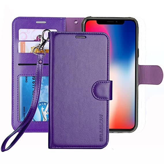premium selection d107b 7b665 ERAGLOW for iPhone X/Xs Case, Luxury PU Leather Wallet Flip Protective Case  Cover with Card Slots and kicktand for 5.8 inches iPhone X Xs (Purple)