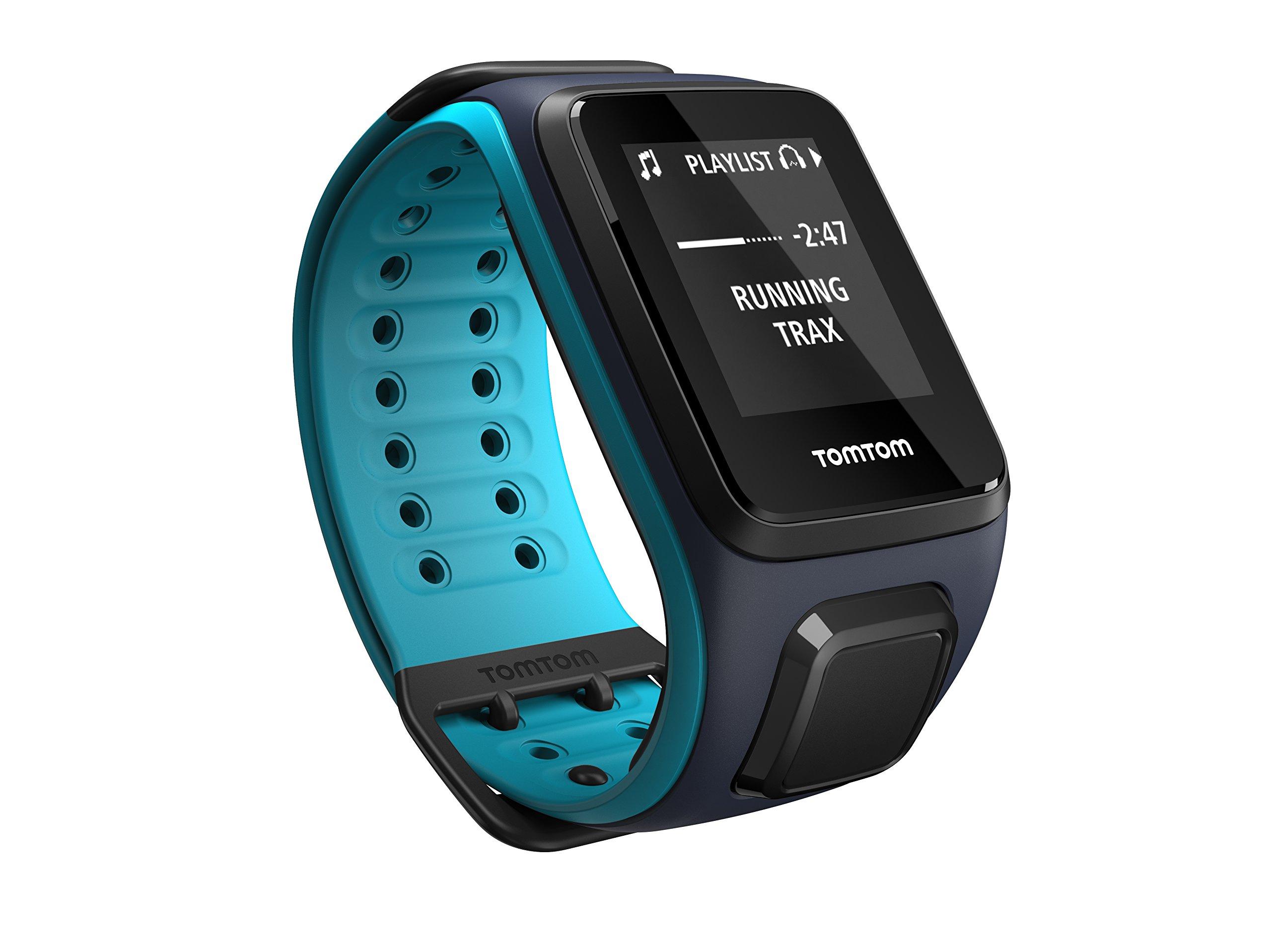 TomTom Spark Music, GPS Fitness Watch + 3GB Music Storage (Large, Sky Captain/Scuba Blue)