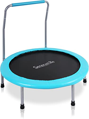 SereneLife 36 Inch Portable Fitness Trampoline Sports Trampoline for Indoor and Outdoor Use Professional Round Jumping Cardio Trampoline Safe for Kid w Padded Frame Cover and Handlebar