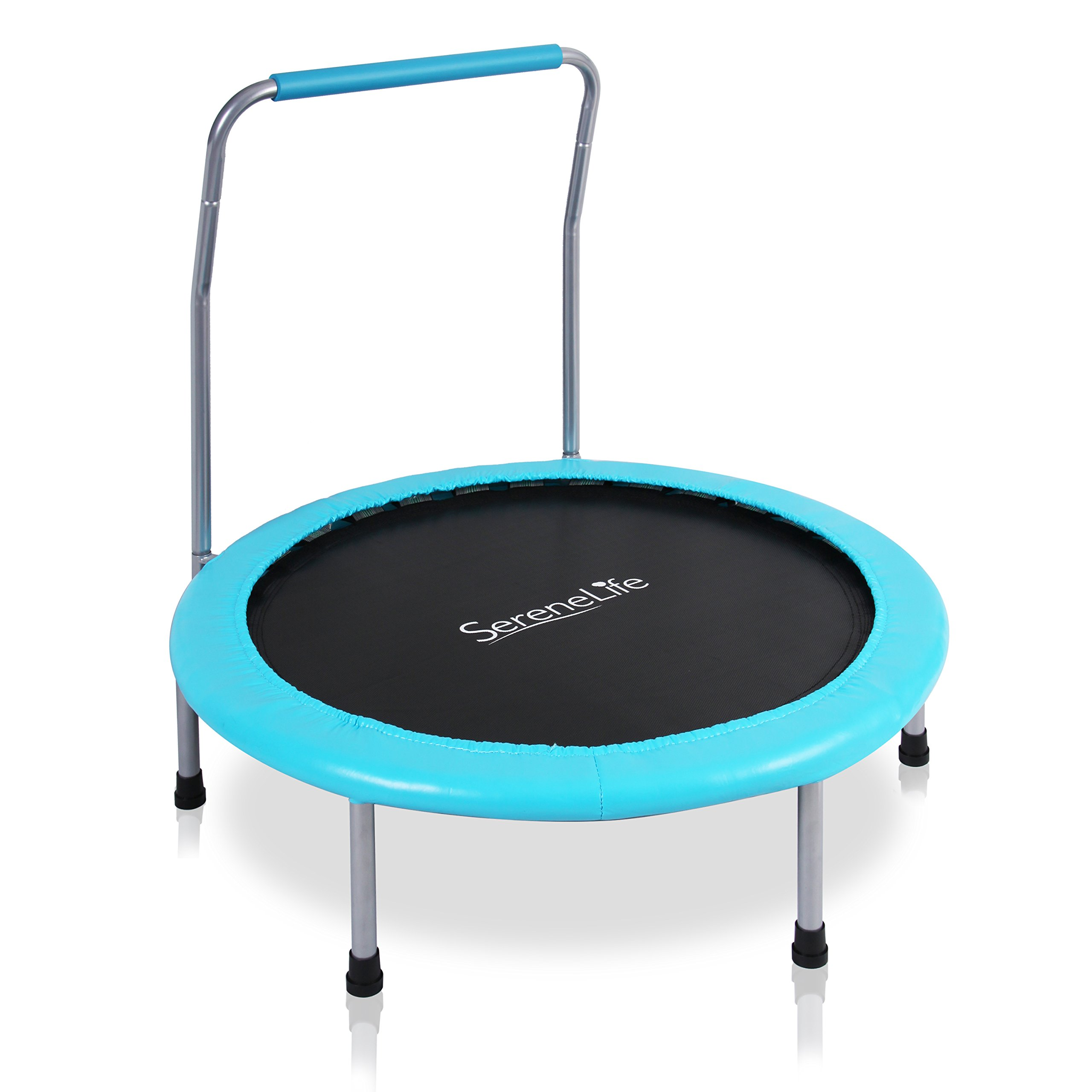 SereneLife Portable & Foldable Trampoline - 36'' Dia Springfree Rebounder Jumping Mat Safe for Kid w/Padded Frame Cover and Handlebar and Carry Bag - SLELT367 by SereneLife