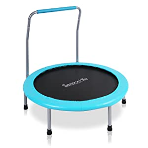 "SereneLife Portable & Foldable Trampoline - 36"" Dia Springfree Rebounder Jumping Mat Safe for Kid w/Padded Frame Cover and Handlebar and Carry Bag - SLELT367"