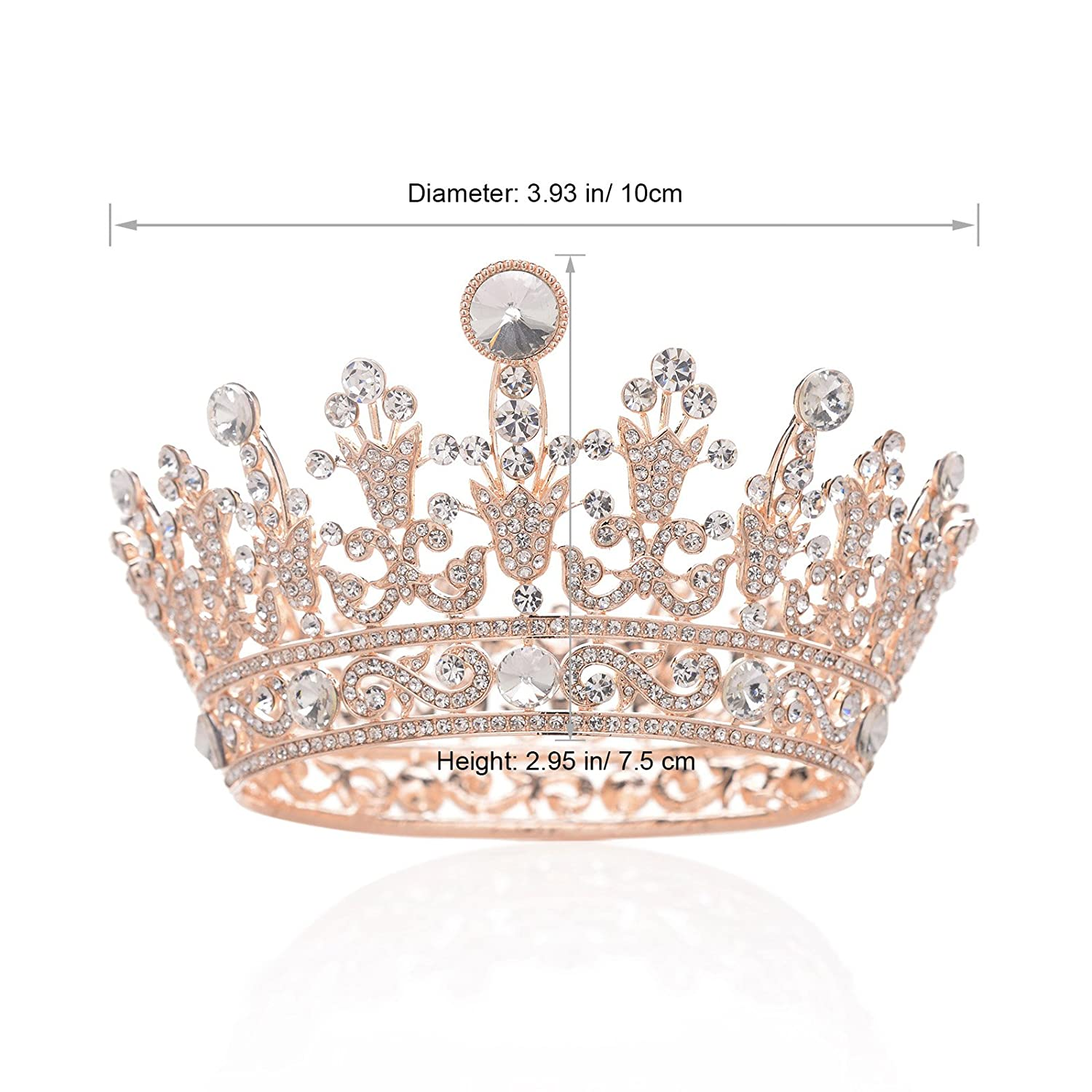 SWEETV Rose Gold Full Round Crystal Queen Crown Rhinestone Bridal Tiara  Pageant Prom Wedding Hair Jewelry  Amazon.co.uk  Beauty 331614fd06e8