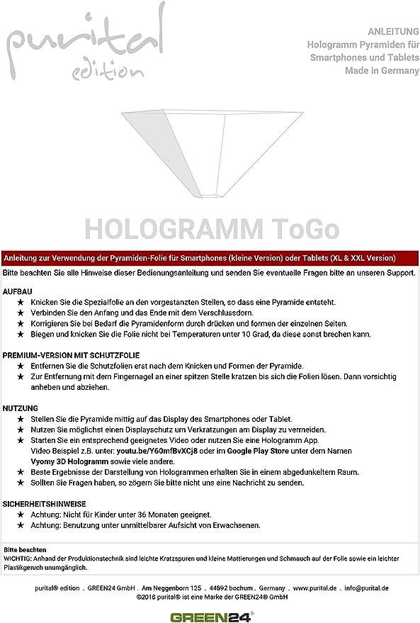 GREEN24 purital® 3D Hologramme Pyramide de Projection décran pour ...