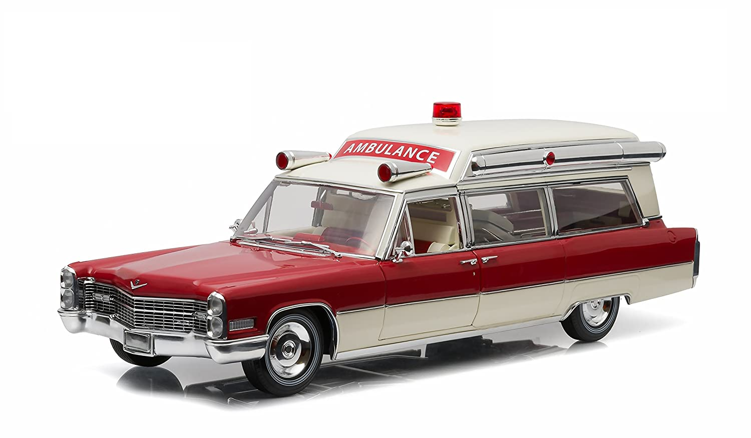 Greenlight 1966 Cadillac SS 48 High Top Ambulance Red and White Precision Collection Limited Edition 1/18 Diecast Model Car