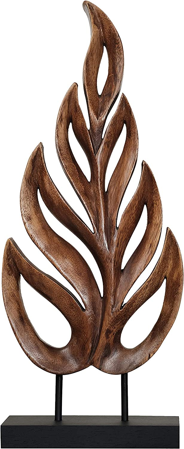 Decozen Artistic Handmade Wooden Leaf Sculpture A Symbol of Peace and Harmony for Room Decoration Handcrafted Art Sculpture for Living Room Hallway Guest Room Console Table Home Decor 4x8x20 inches