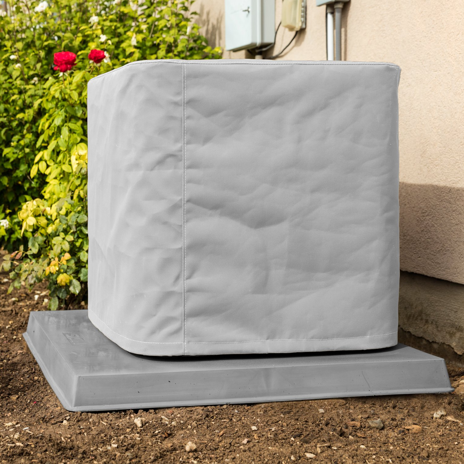 SugarHouse Custom Covers Outdoor Air Conditioner Cover 24''x24''x26'' - Premium Marine Canvas - Gray - Made in the USA - 5-year Warranty