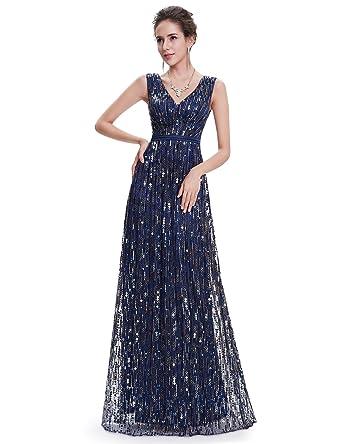Ever-Pretty Womens Elegant V-Neck Long Sequins Prom Dress 6 US Navy Blue