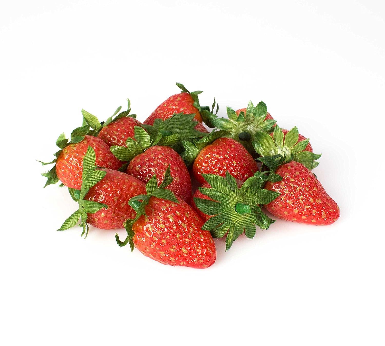 artplants Fragole artificiali, set da 12, 2,5 x 4 cm - Frutta di plastica/Composizione decorativa