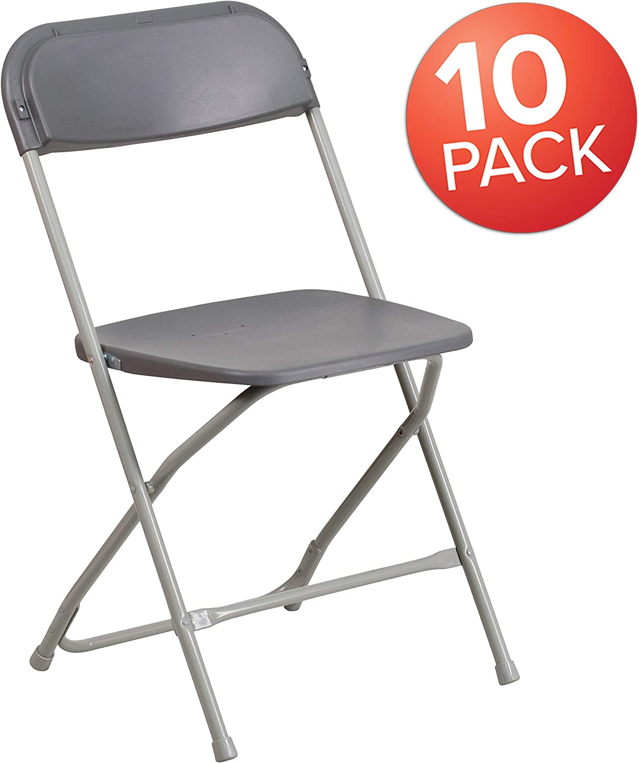 Flash Furniture 10 Pk. HERCULES Series 650 lb. Capacity Premium Grey Plastic Folding Chair