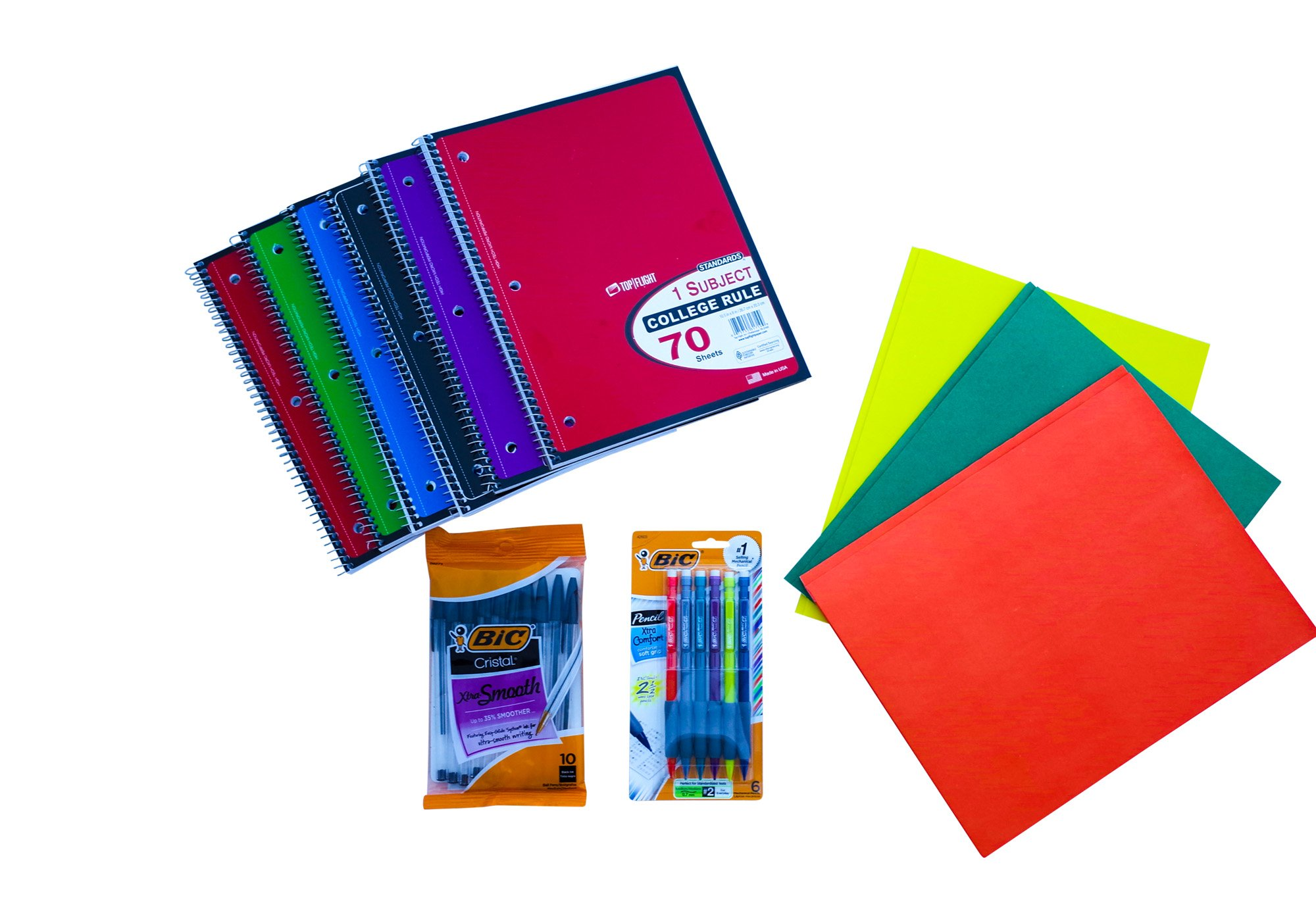 Back to School One-Subject Spiral College Ruled Notebooks, Mechanical Pencils, Black Pens and Folders School and Office Supplies Bundle - Middle, Junior, Intermediate, High School or College