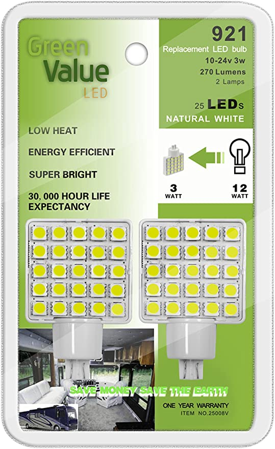 921 Base Green Value LED 25008V Natural White 2-Pack LED Replacement Light Bulb Wedge Base Without Lens