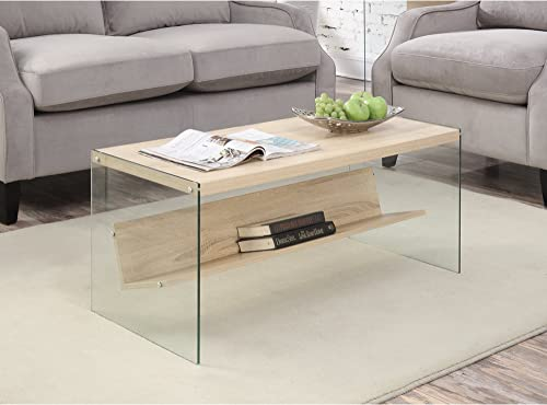 Modern Wood Tempered Glass Side Accent Coffee Table with Bottom Shelf – Includes Modhaus Living Pen Weathered White