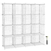 SONGMICS Metal Wire Storage Cube Organizer Modular Shoe Rack DIY Closet Cabinet and Shelving Grids Bookcase Includes Rubber Mallet White16-Cube ULPI44W