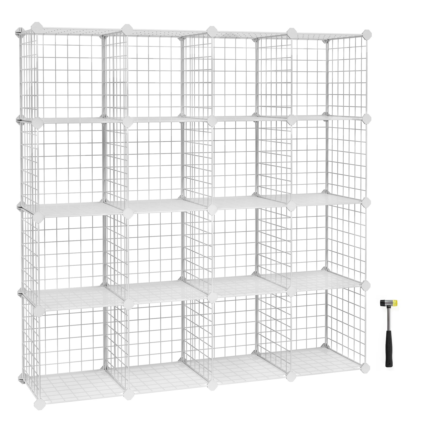 SONGMICS Metal Wire Storage Cube Organizer, Modular Shoe Rack, DIY Closet Cabinet and Shelving Grids, Bookcase, Includes Rubber Mallet, White,16-Cube ULPI44W