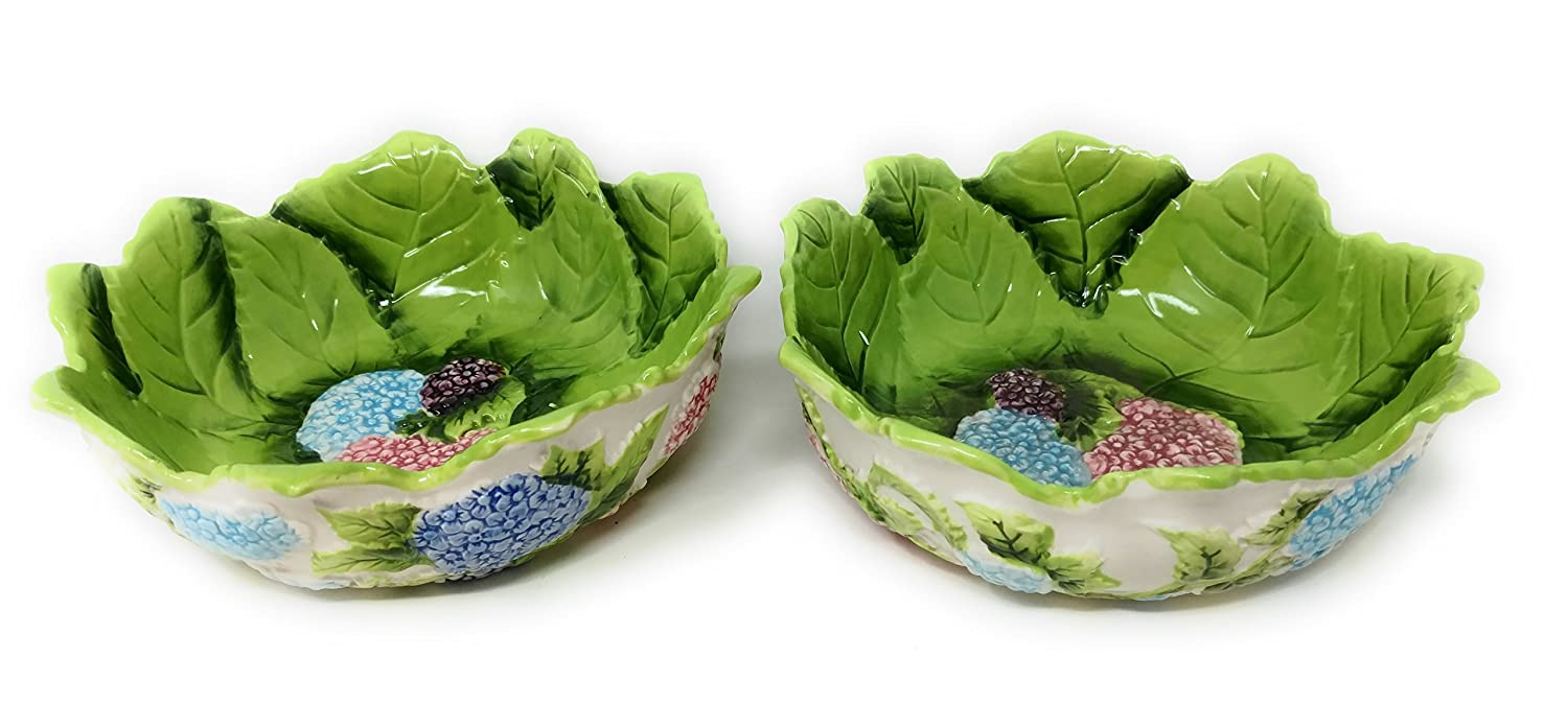 Temp-tations Set of 2 Soup, Cereal, Salad, or Serving Bowls, Stoneware (Hydrangea)