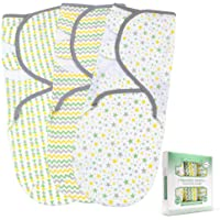 Baby Swaddle Blanket for Newborn Boy and Girl | 3 Set of Adjustable Infant Wrap with Fastener Straps | Breathable Soft Cotton | 0-3 Month