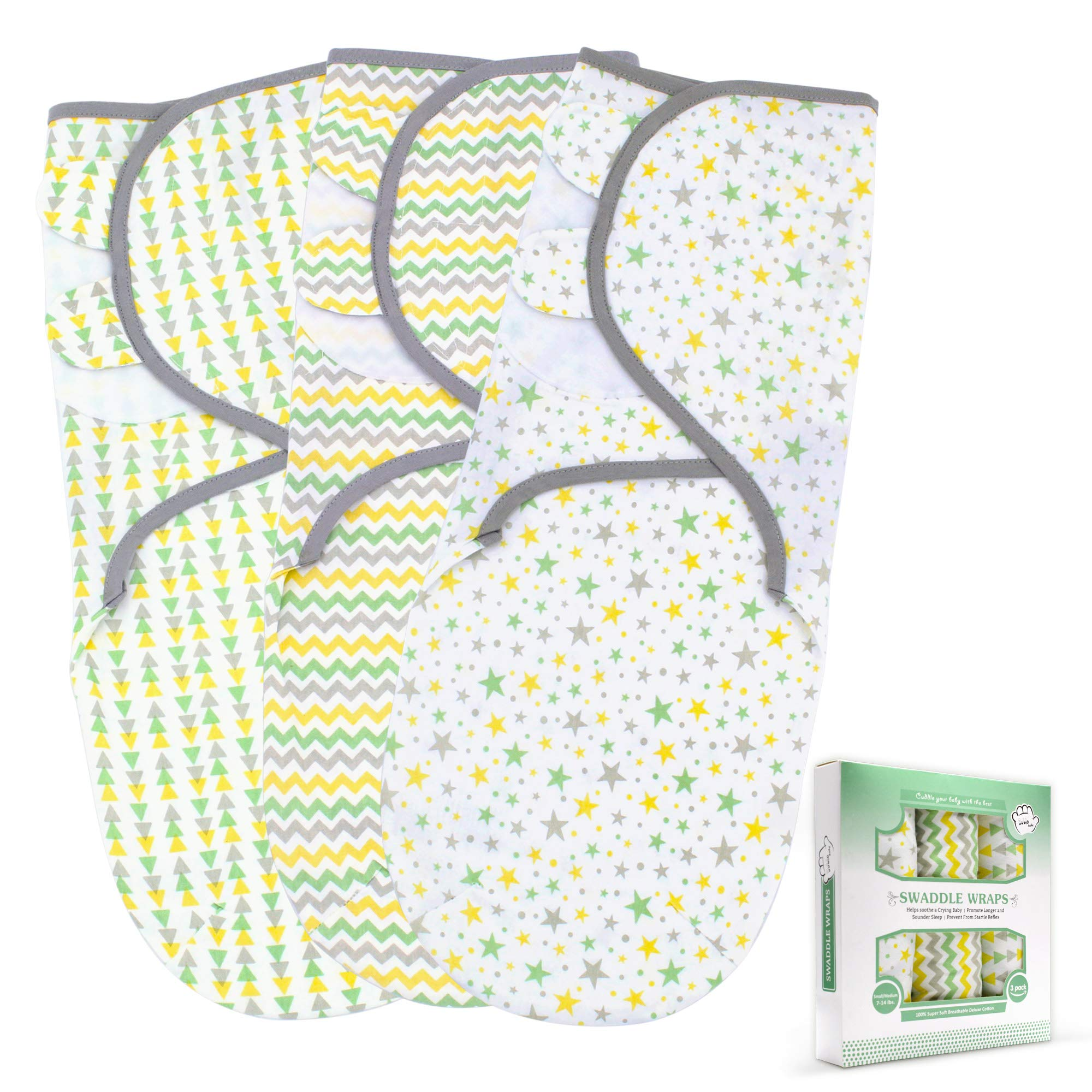 Baby Swaddle Blanket for Newborn Boy and Girl | 3 Set of Adjustable Infant Wrap with Fastener Straps | Breathable Soft Cotton | 0-3 Month product image