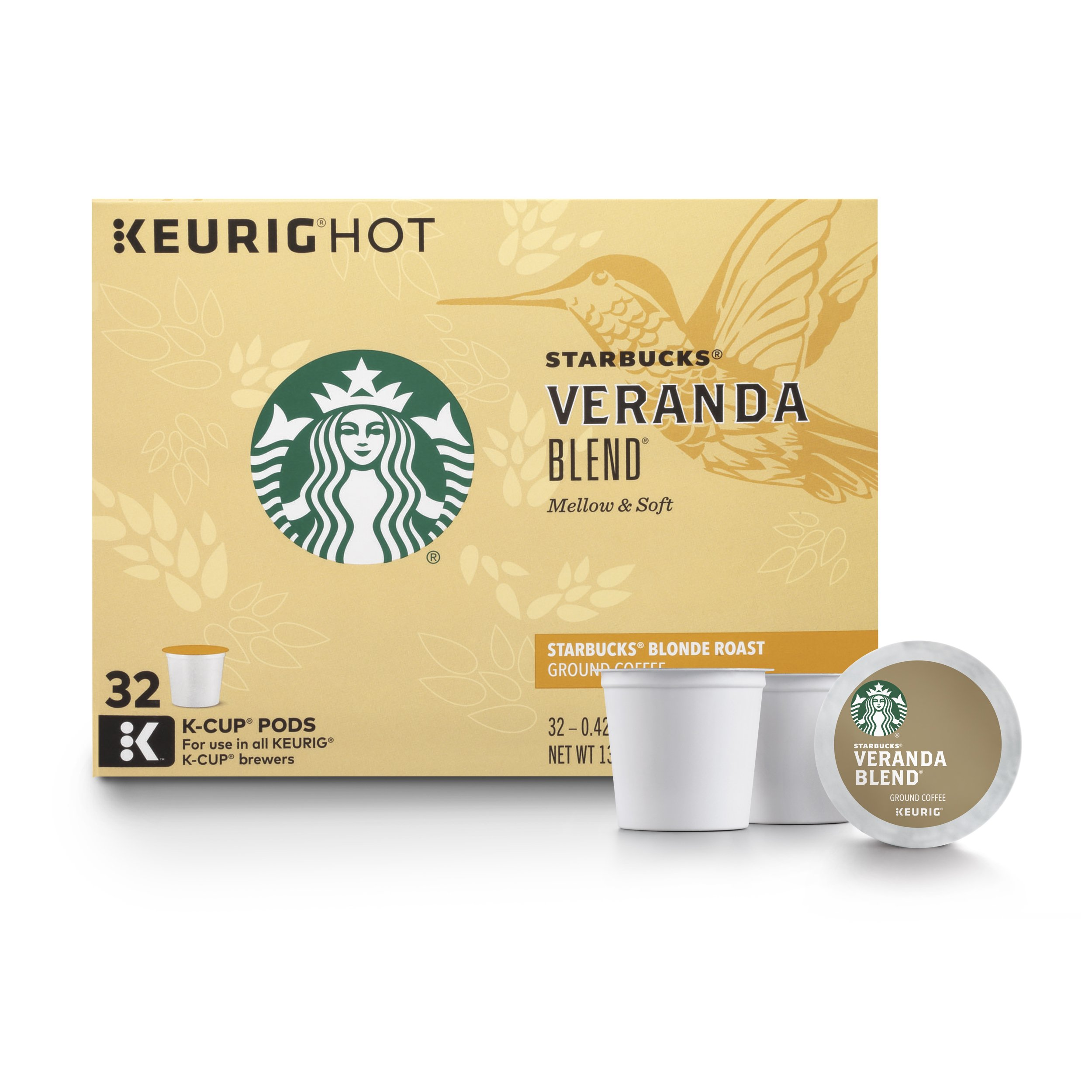 Starbucks Veranda Blend Blonde Roast Single Cup Coffee for Keurig Brewers, 32 Count