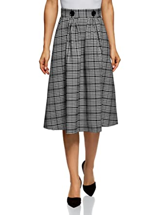 cb684bccb oodji Ultra Women's Checkered Midi Skirt in Heavyweight Fabric with Pockets,  Black, UK 6